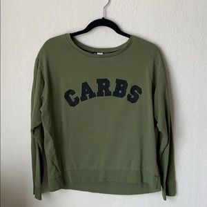 """Olive Green """"CARBS"""" Pullover Shirt"""